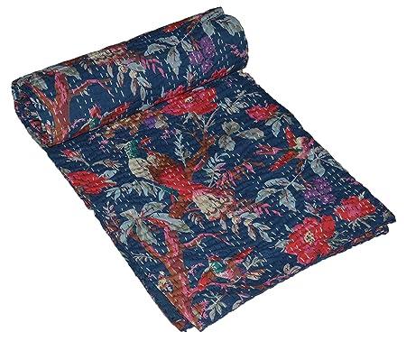 Yuvancrafts Colcha de algodón indio Kantha, diseño de