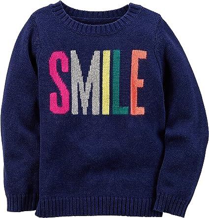 Carters Girls 2T-8 Smile Intarsia Sweater