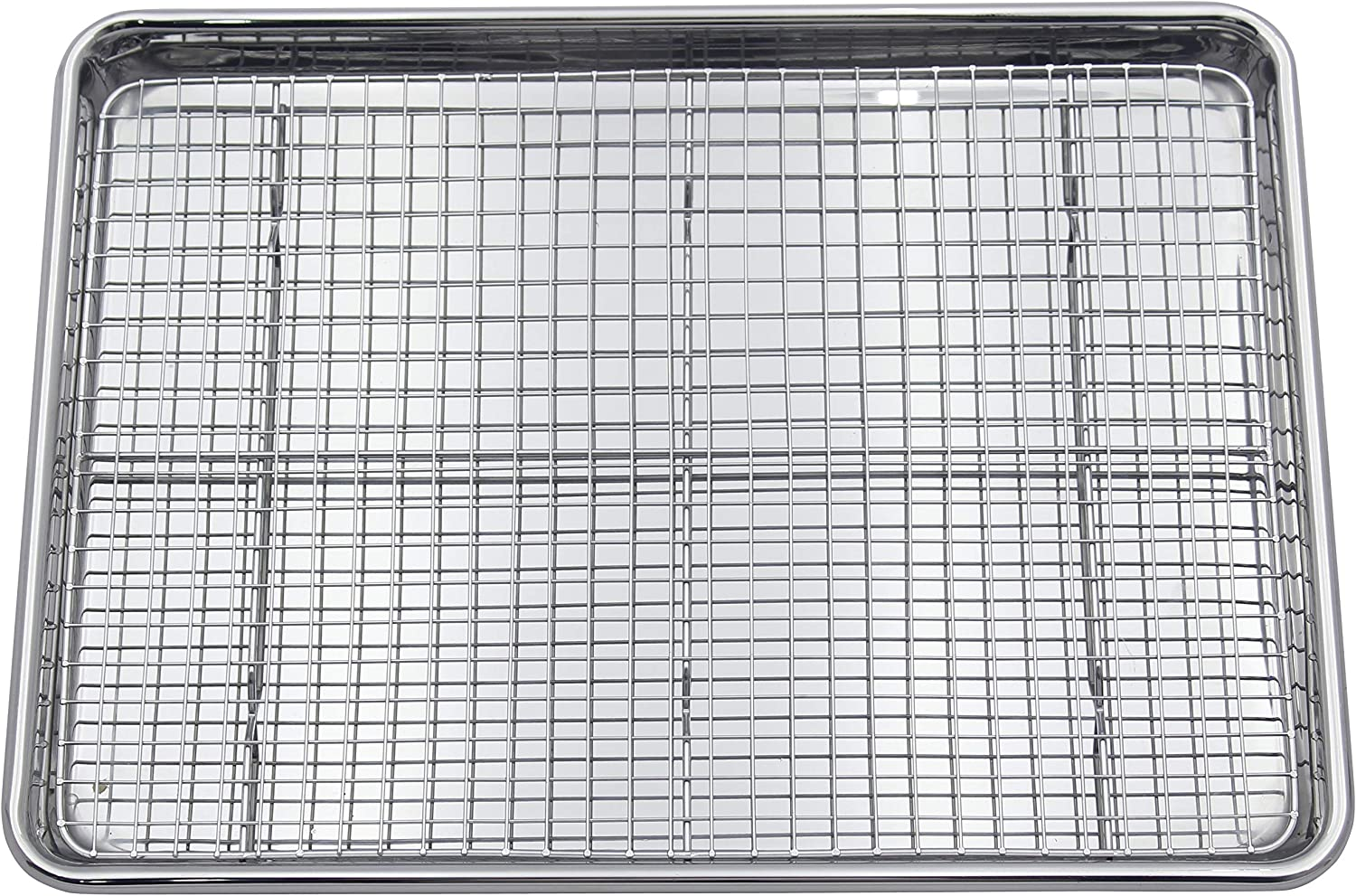 Checkered Chef Stainless Steel Baking Sheet With Rack - Heavy Duty Warp ResistantHalf Sheet Pan for Baking with Oven Safe Baking/Cooling Rack
