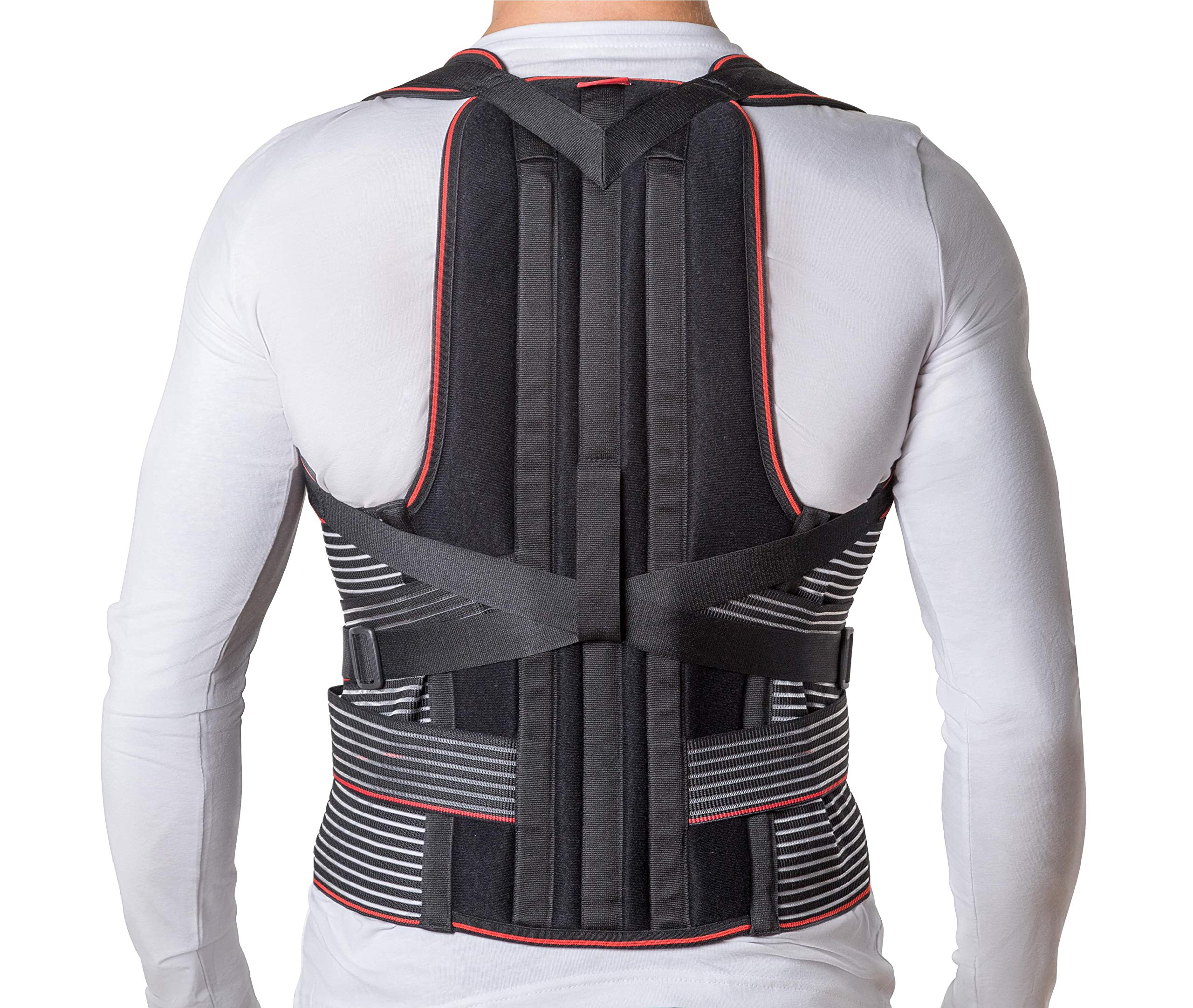JNTAR Back Brace Posture Corrector for Women & Men, Corset Provides Lumbar & Shoulders Support, Corrects Slouching & Bad Posture, Solution for Kyphosis & Scoliosis, Rigid Fixation (S/I (24-30''))