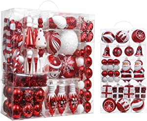 Valery Madelyn Sweet Candy Red White Christmas Ball Ornaments Bundle (2 Items) | 155ct Different Shaped and Sizes Xmas Ball Ornaments + 40ct Christmas Balls for Christmas Tree Décor
