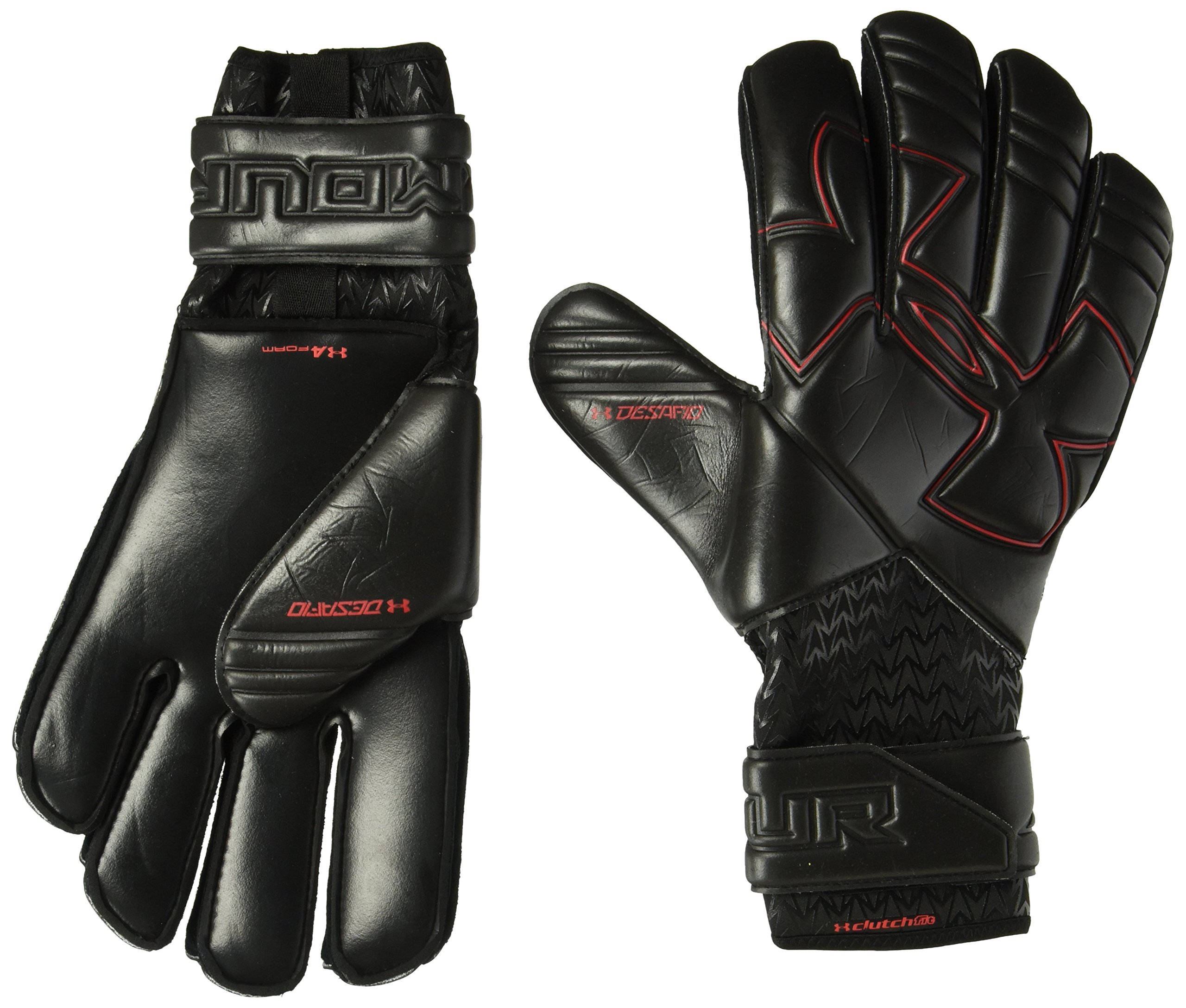 Under Armour Men's Desafio Pro Soccer Gloves, Black (001)/Black, 12