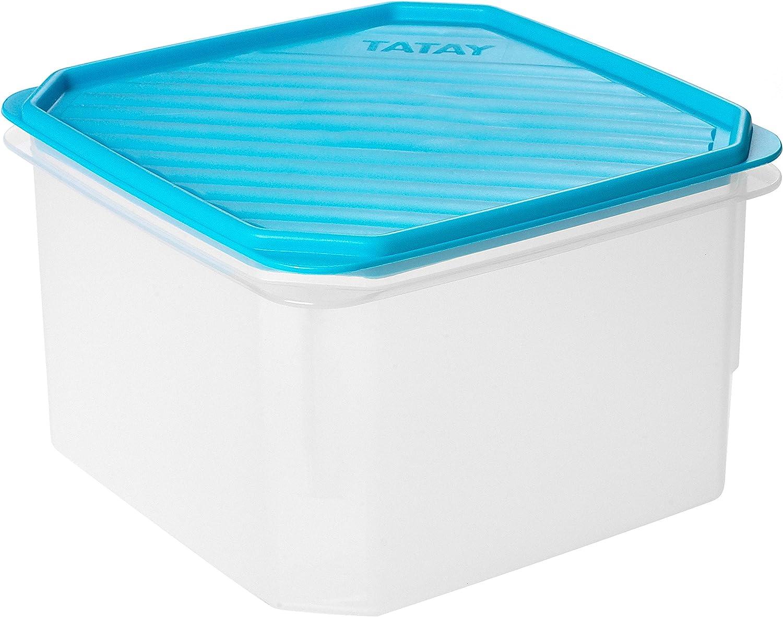 TATAY 1161200 - Contenedor de alimentos hermético cuadrado con tapa flexible a presión azul, libre de BpA, 2,9 litros de capacidad, 18,5 x 18,5 x 12,2