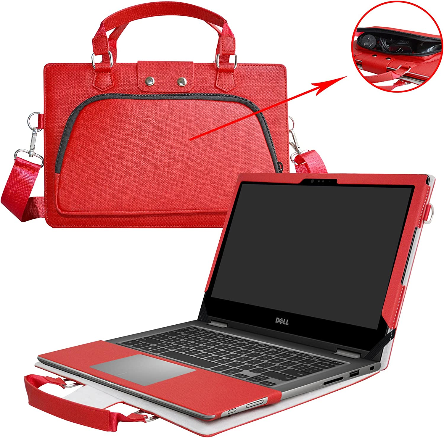 Inspiron 13 2-in-1 7373/Inspiron 13 7370 Case,2 in 1 Accurately Designed Protective PU Cover + Portable Carrying Bag for 13.3