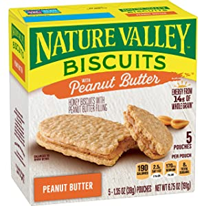 Nature Valley Biscuits, Peanut Butter, Breakfast Biscuits with Nut Filling, 5 Bars - 1.4 oz