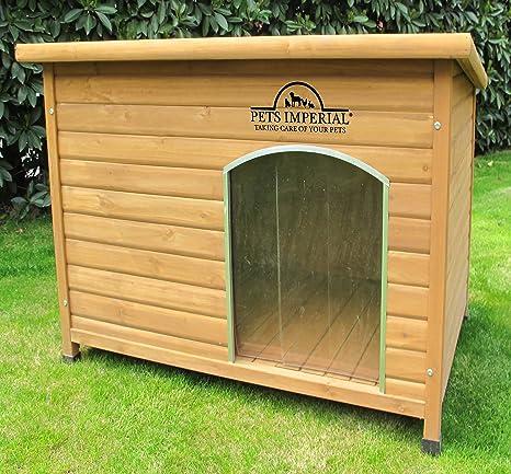 Perreras Imperial térmica grande de madera Norfolk perro de la perrera con suelo extraíble para fácil