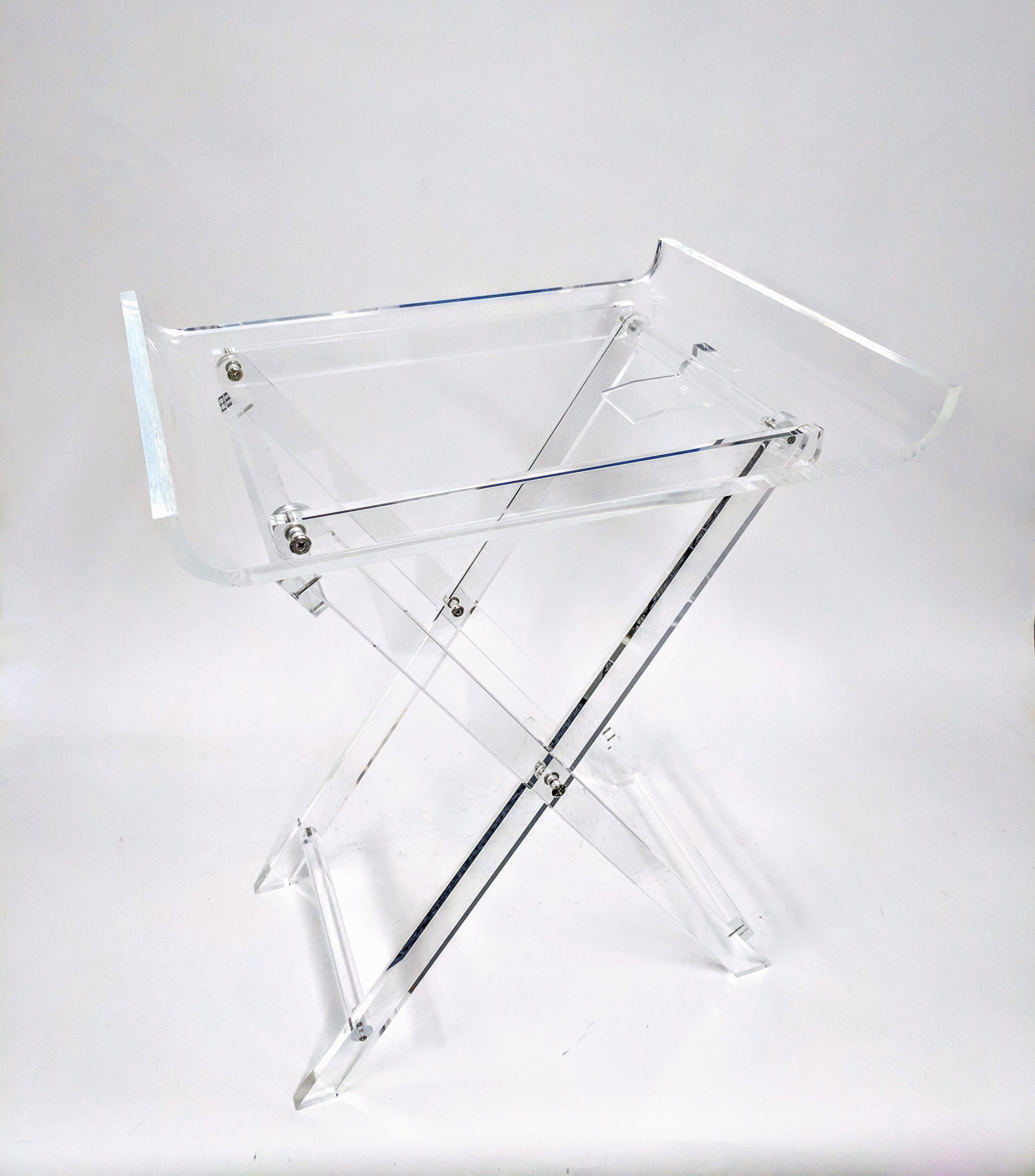 Designstyles Acrylic Folding Tray Table - Modern Chic Accent Desk - Kitchen and Bar Serving Table - Elegant Clear Design by Designstyles
