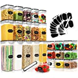 25 Pack Airtight Food Storage Containers Set, PRAKI BPA Free Plastic Dry Food Canisters for Kitchen Pantry Organization and S