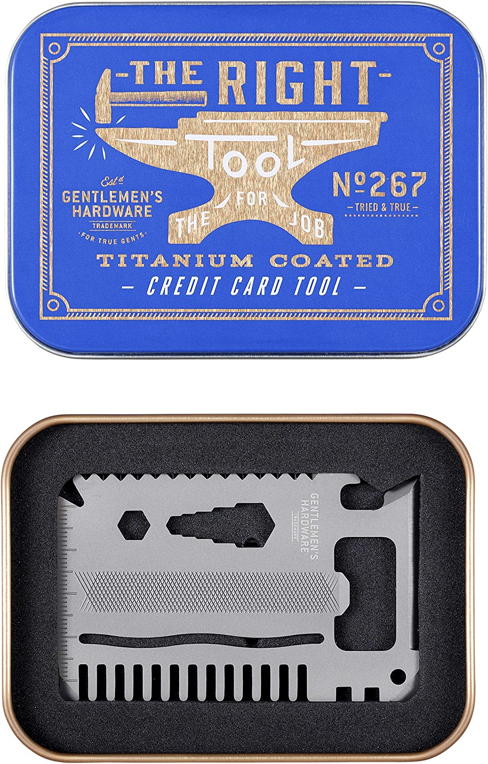 Gentlemen s Hardware 15-in-1 Titanium Coated Stainless Steel Credit Card Pocket Multi Tool