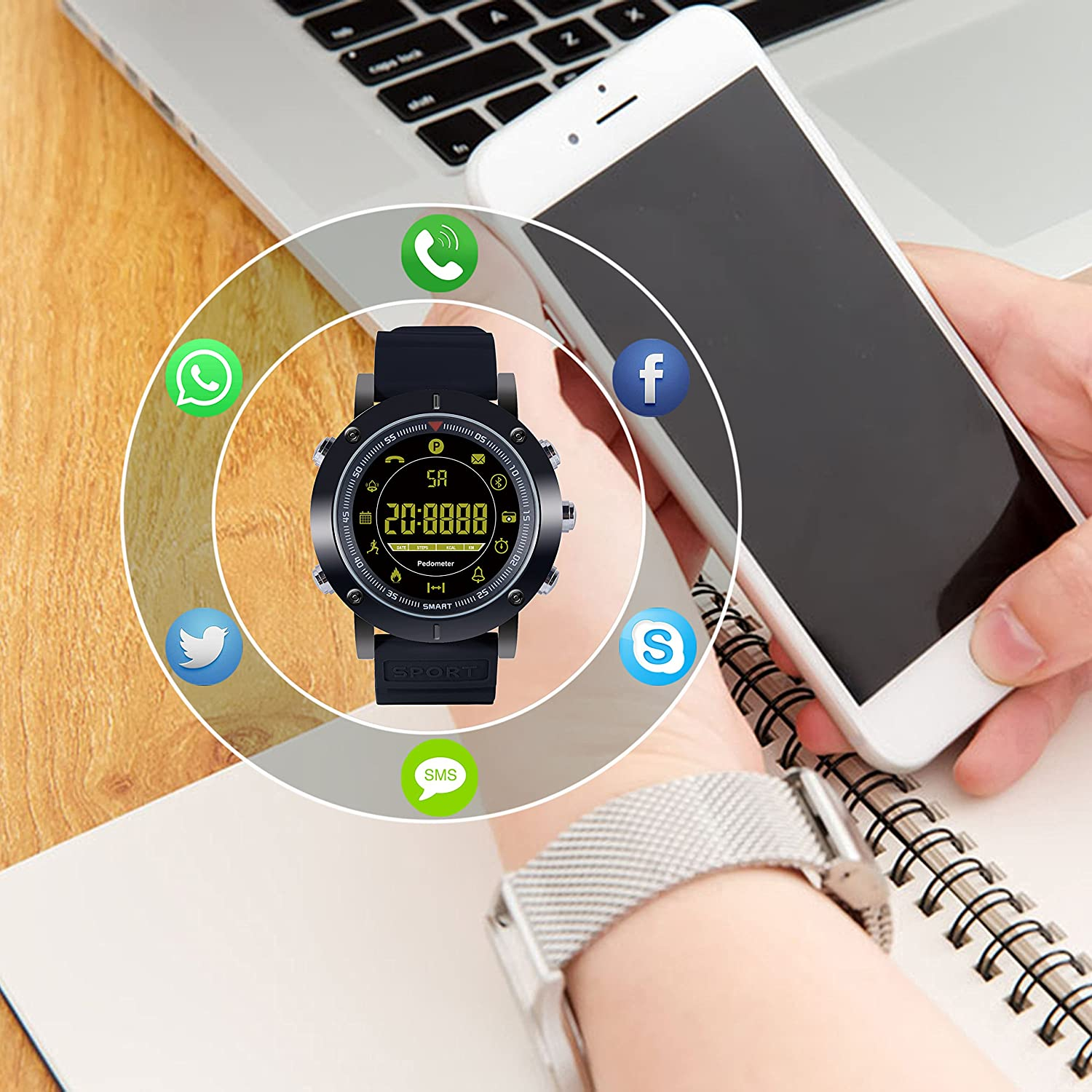 Amazon.com: Kingkok Bluetooth Outdoor Smart Sports Watch with Steps Counter Calories Stopwatch Phone Reminder Waterproof Digital Smartwatch [Black]: Cell ...