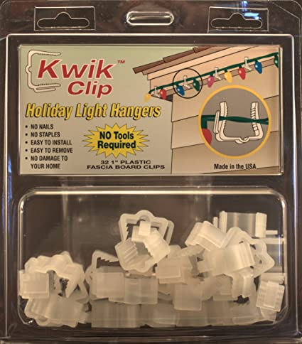 Kwik Clip Holiday Christmas Light Hangers 1u0026quot; Fascia Boards Clip Made  In ...