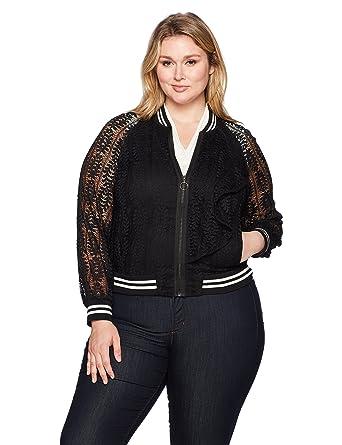 2af091789f5 Amazon.com  RACHEL Rachel Roy Women s Plus Size Lace Bomber  Clothing