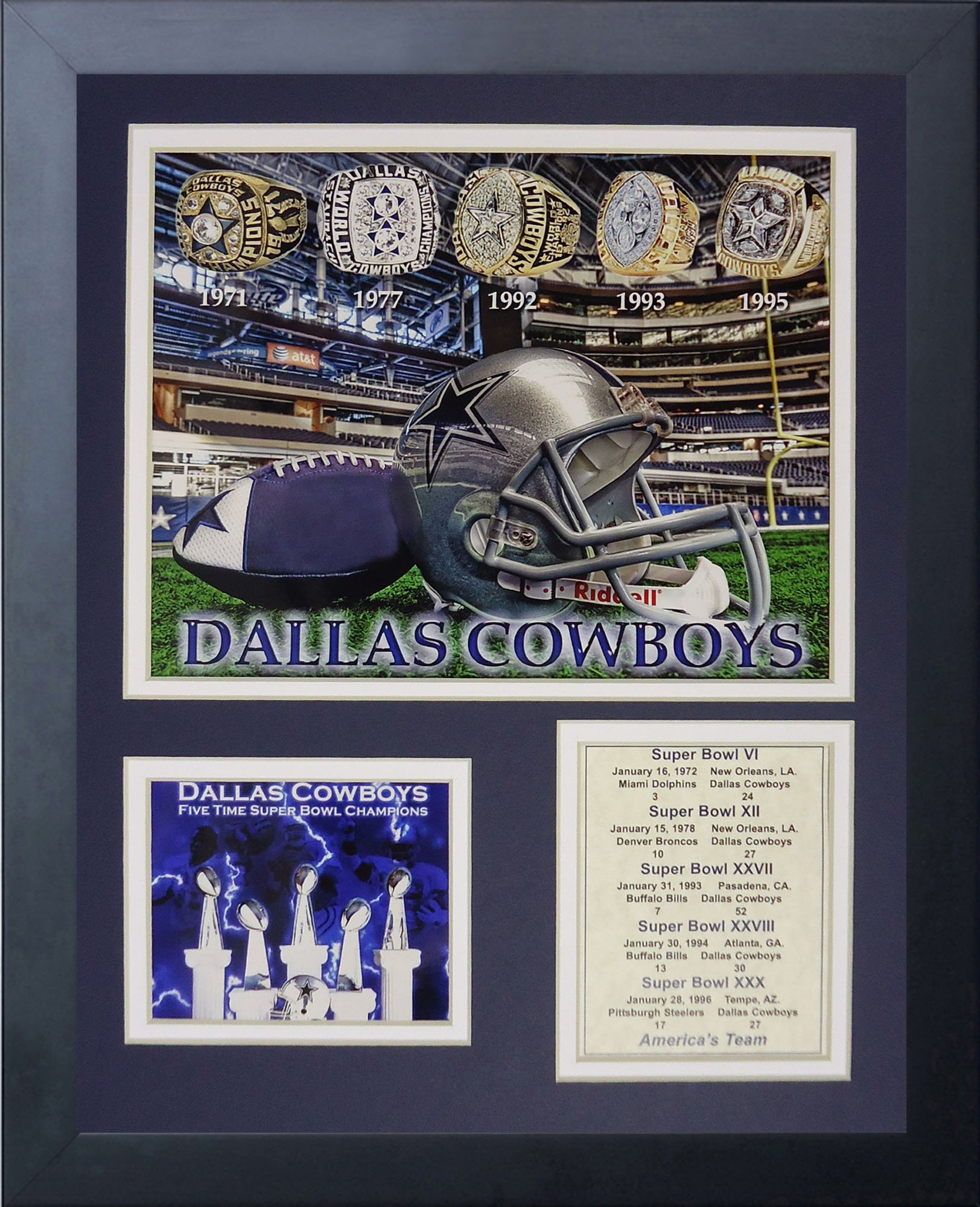 Legends Never Die Dallas Cowboys Super Bowl Rings Framed Photo Collage, 11x14-Inch by Legends Never Die