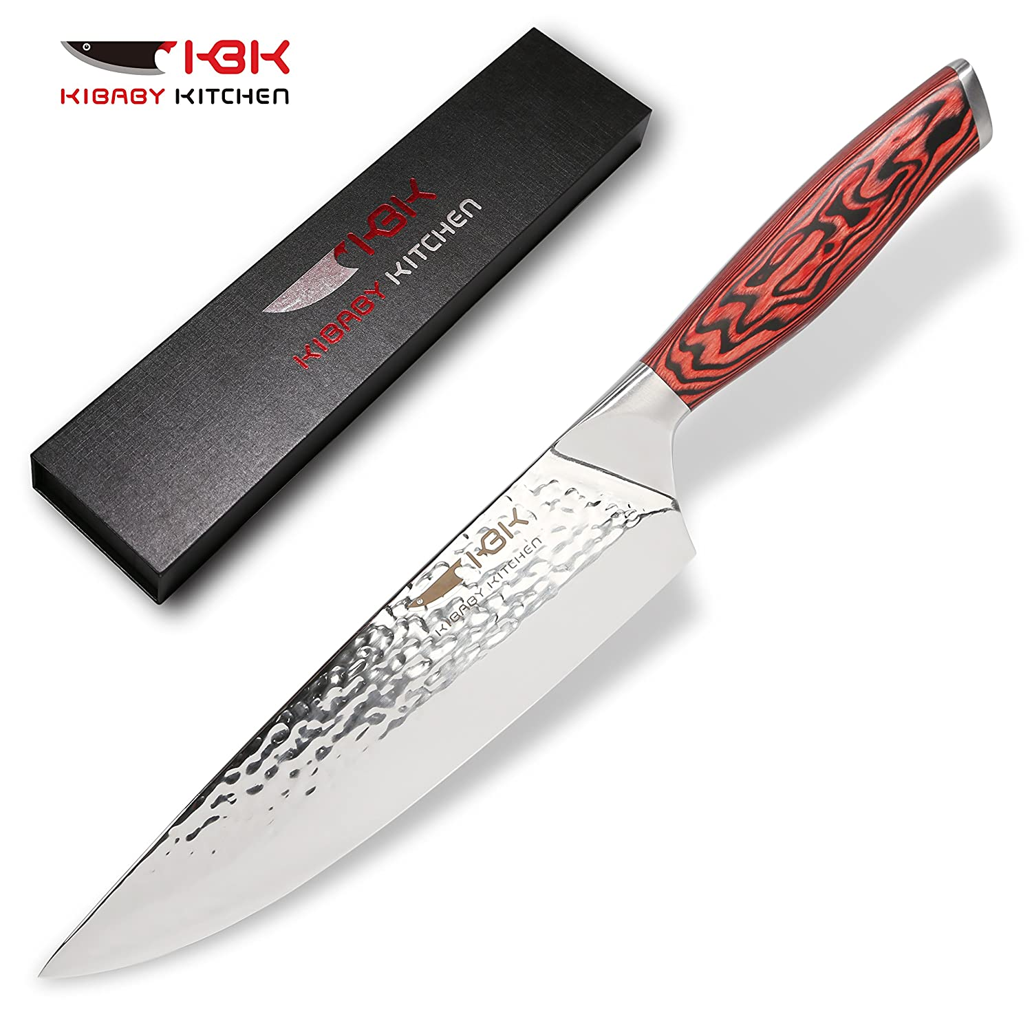 Kbk chef knife kitchen knives 8 inch professional chefs knives 440c stainless steel with 58 to 60 hrc super sharp best for home kitchen cutting chopping