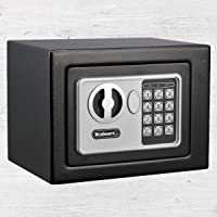 Digital Security Safe Box for Valuables- Compact Waterproof and Fireproof Steel Lock Box with Electronic Combination…