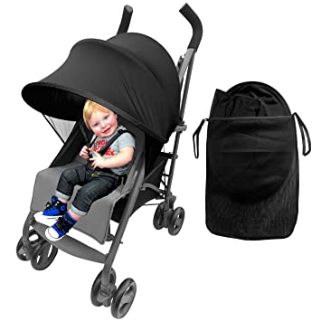 Easy Fit Universal Stroller Canopy Extender Large and Compact Sun Shade in Black by Luvit  sc 1 st  Amazon.com & Amazon.com: Easy Fit Universal Stroller Canopy Extender Large and ...