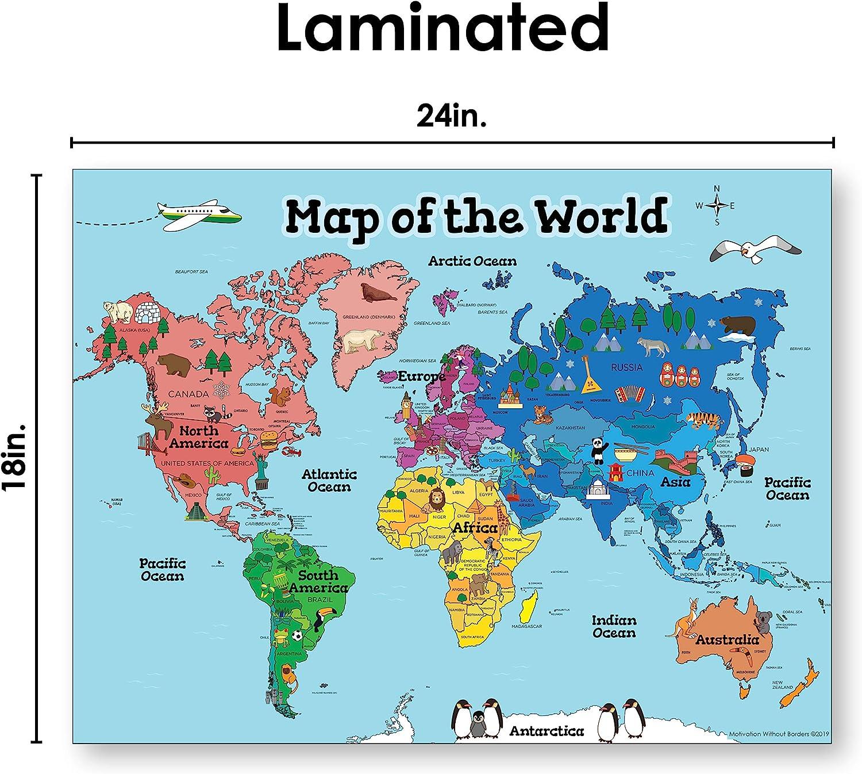 Póster de mapa del mundo para niños (mapa del mundo laminado de 18 x 24), mapa del mundo ideal para niños, pósteres para el hogar o el aula: Amazon.es: Oficina y papelería