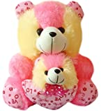 Proper Desi Stuffed Mother Baby Teddy Bear For Kids (Height-42 Cm) - Pink