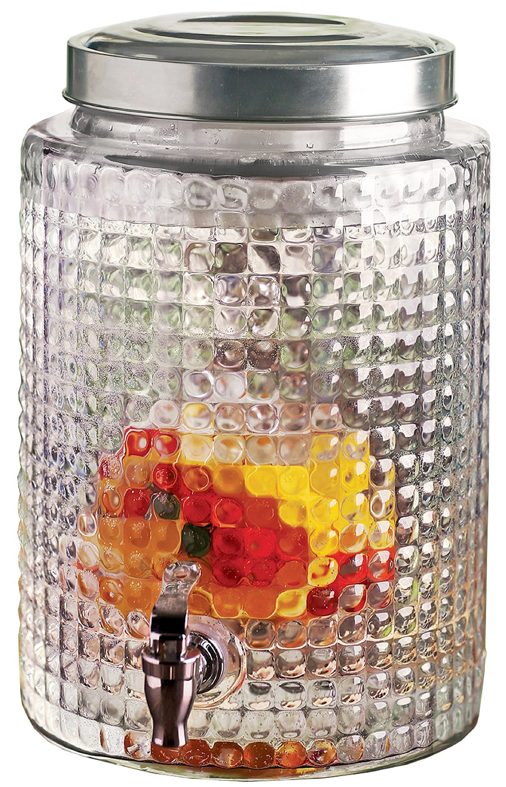Circleware Sun Tea Mason Jar Beverage Dispenser with Fruit Infuser, Ice Insert and Metal Lid, Entertainment Glassware Drink Water Pitcher for Juice, Beer & Cold Drinks, Huge 2.7 Gallon Windowpane