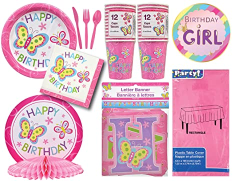 Happy Birthday Butterfly Theme Party Pack Pink Decorations For Girls Presents