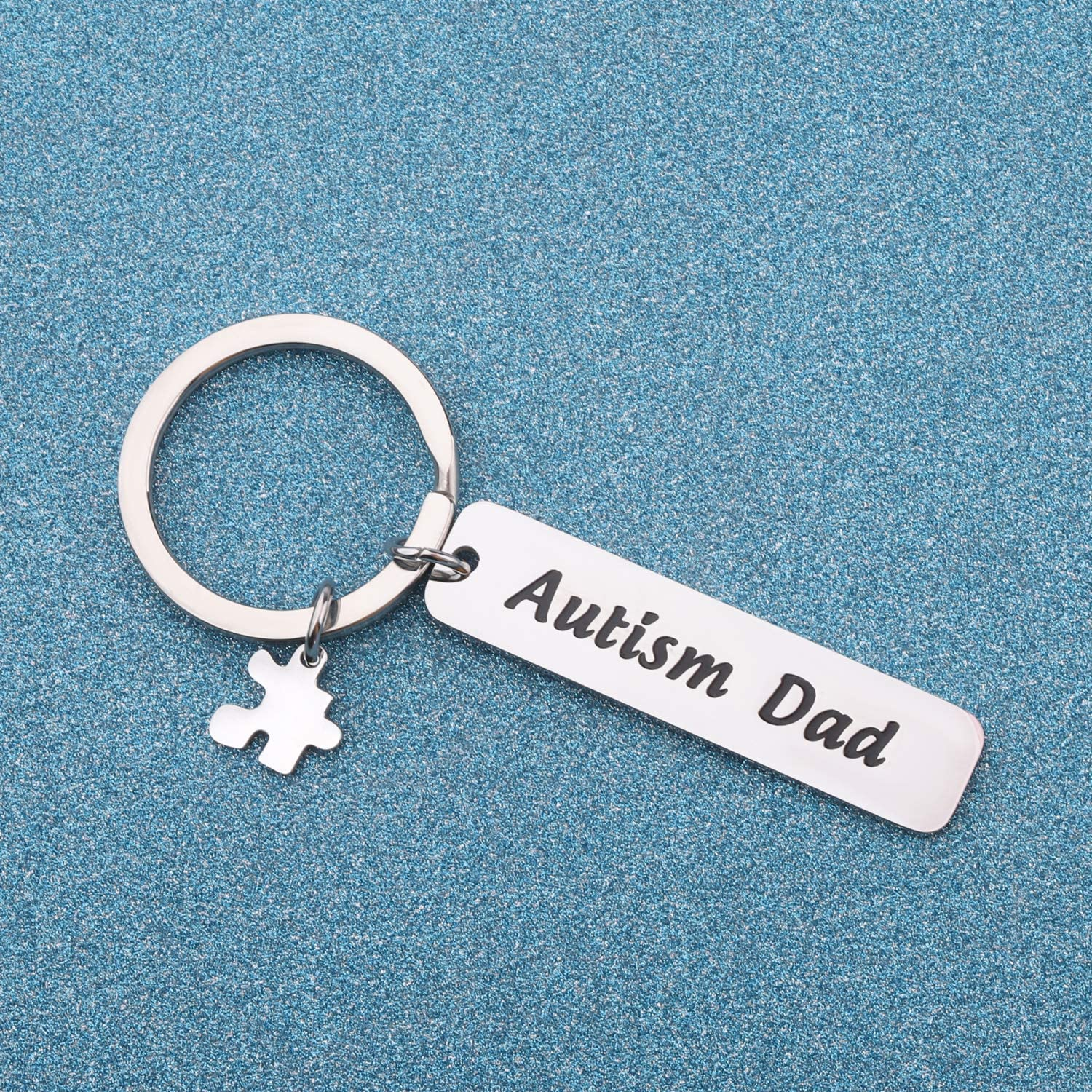 LQRI Autism Dad Keychain Proud Autism Dad Gift Autism Puzzle Piece Charm Autism Awareness Keychain Autistic Support Autism Gifts for Dad