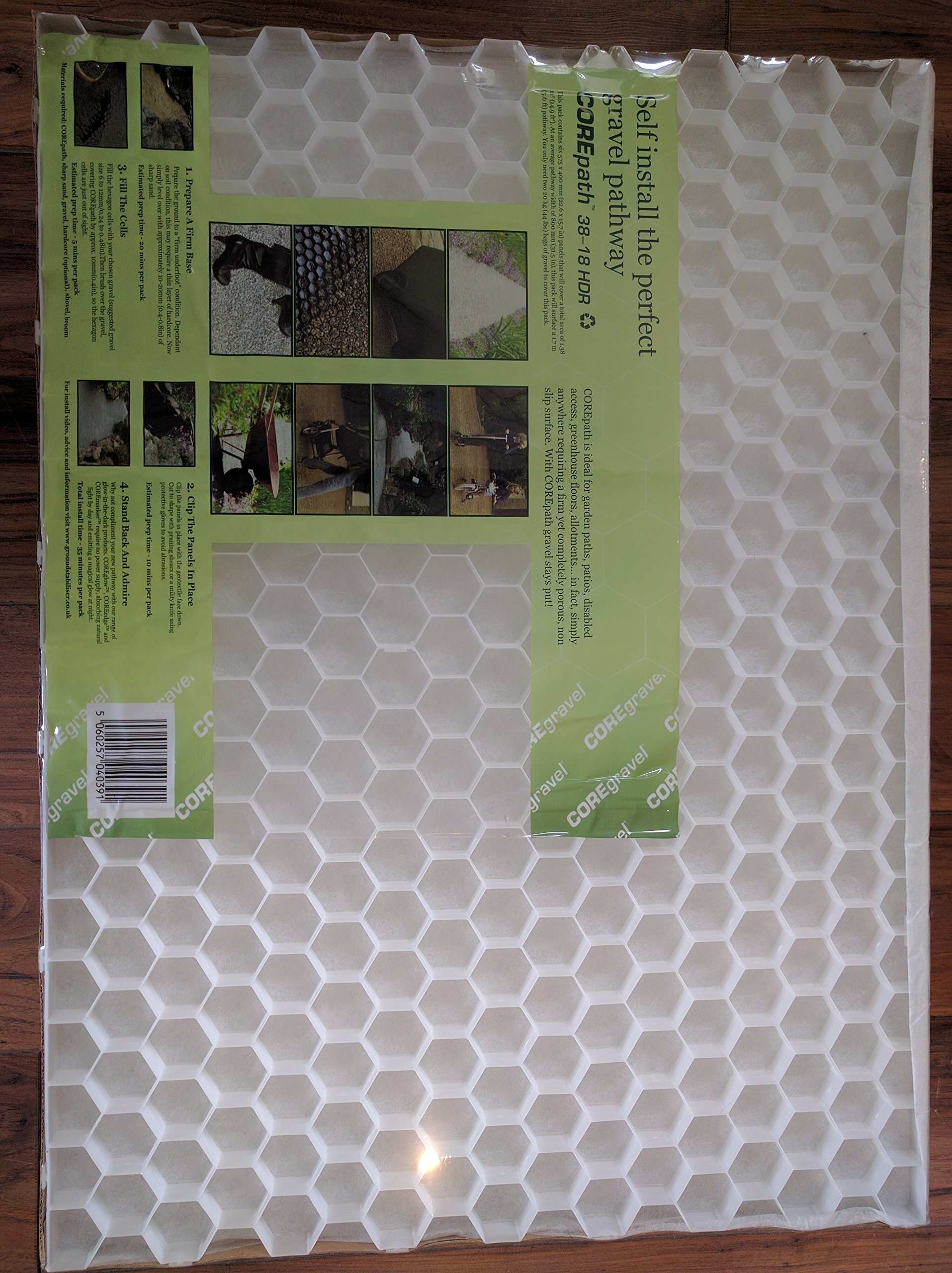 CORE Path Gravel Pathway Stabilizer Grid with Attached Weed Control Membrane. Each Pack Will Cover a 8 Meters Long Pathway X 0.8 Meters Wide, Without Cutting, or a 6.50m2 (70 Sq.ft) Area