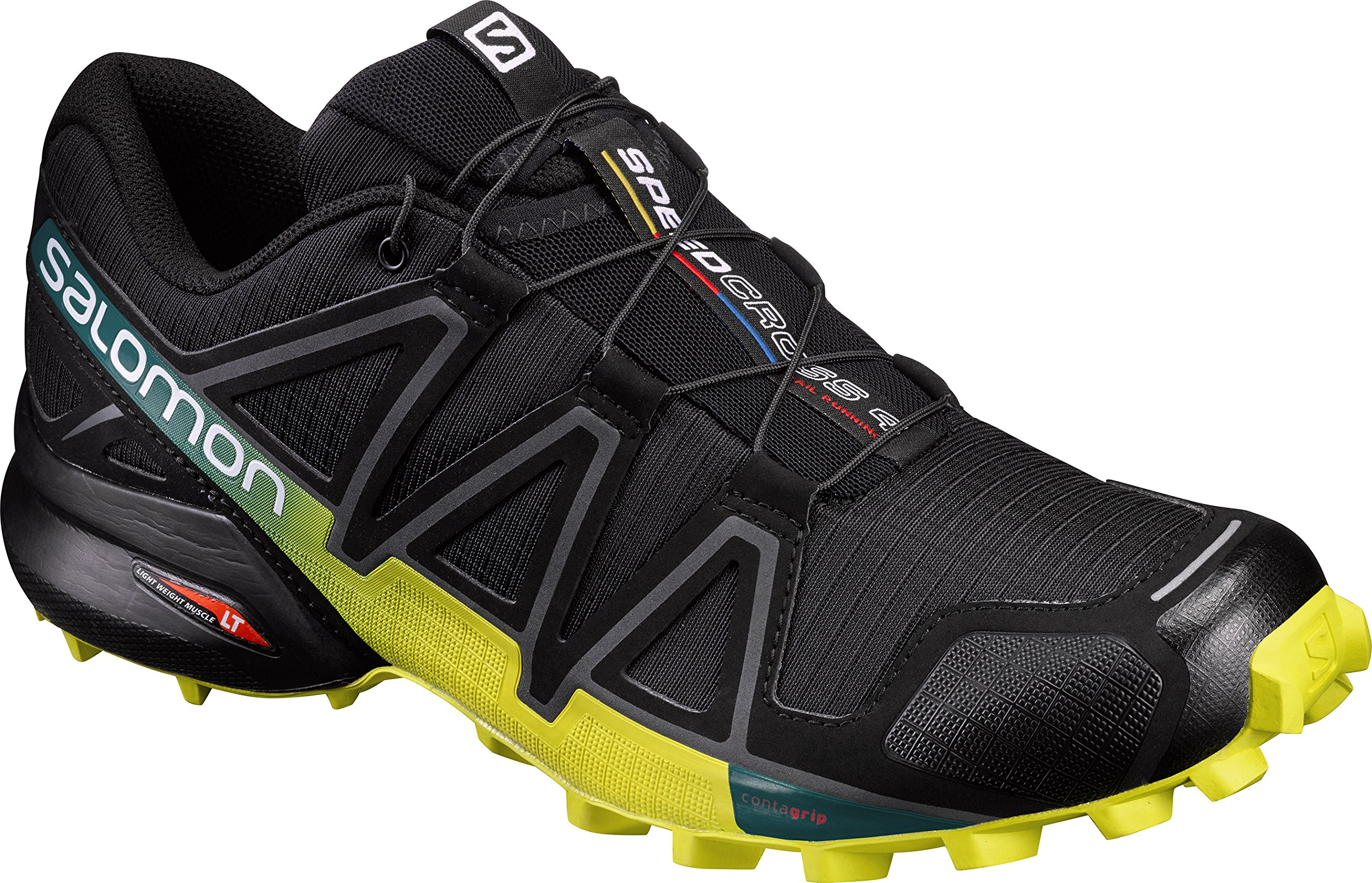 Salomon Men's Speedcross 4 Trail Runner, Black/Everglade/Sulphur, 9.5 M US by SALOMON