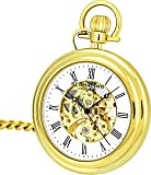 Stuhrling Original Mens Vintage Mechanical Pocket Watch - Stainless Steel Pocket Watch with Chain Analog Skeleton Watch…