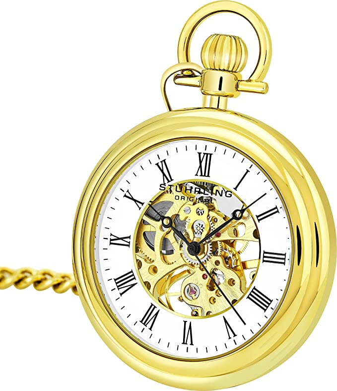 Stuhrling original skeleton watch review for men's vintage mechanical pocket watch cum analog skeleton hand watch with Chain Analog Skeleton Watch Hand Wind Mechanical Watch with Clip and Stainless Steel Chain