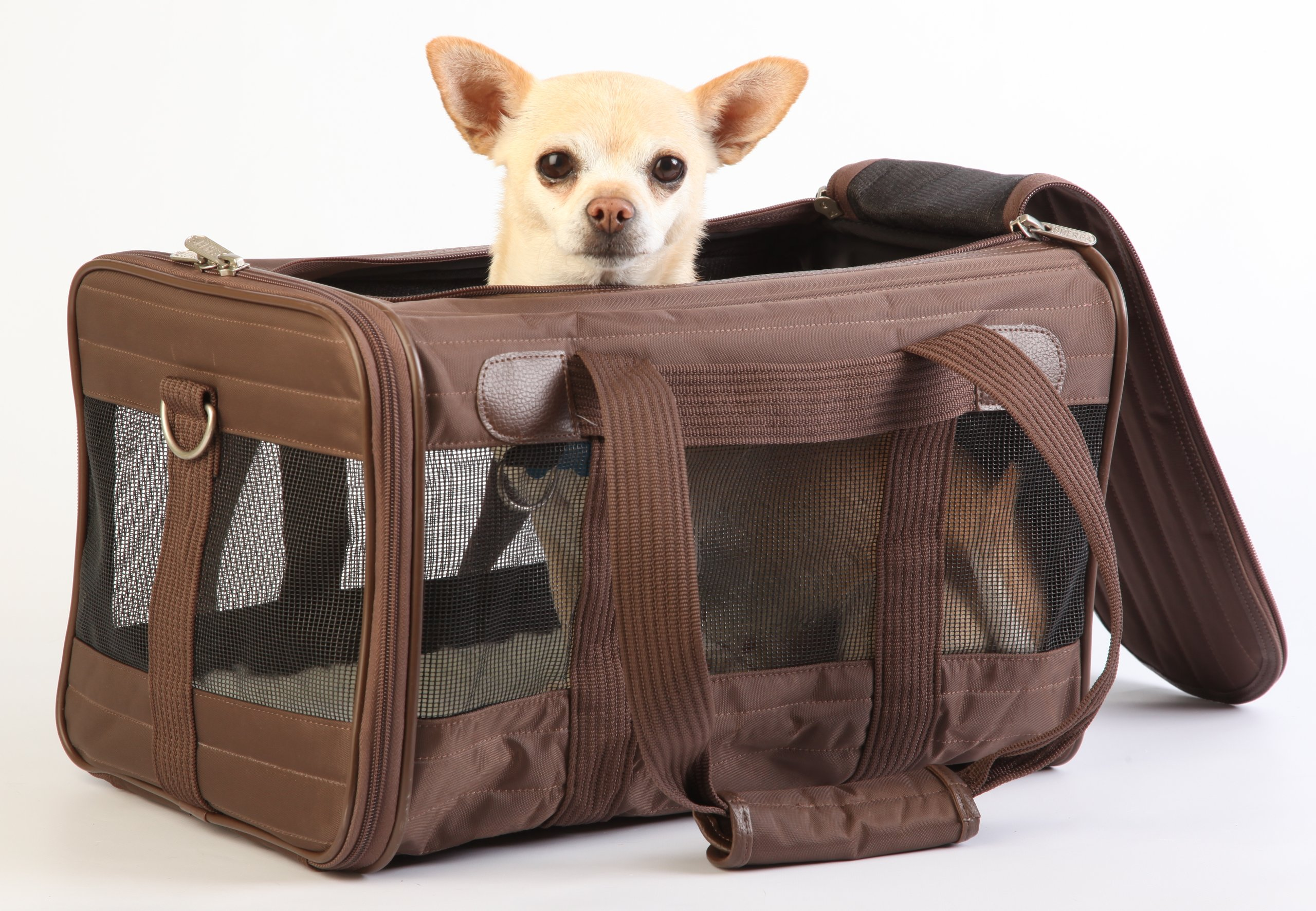 Sherpa Travel Original Deluxe Airline Approved Pet Carrier Small, Brown by Sherpa (Image #4)