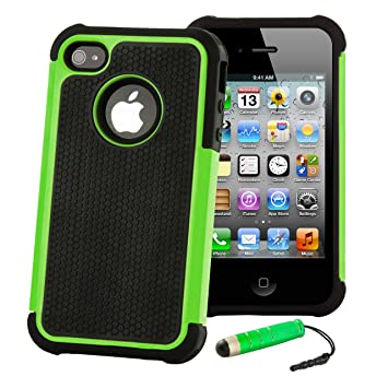 32nd® Funda Rígida Anti-Choques de Alta Proteccion para Apple iPhone 4 4S Carcasa Defensora de Doble Capa - Verde