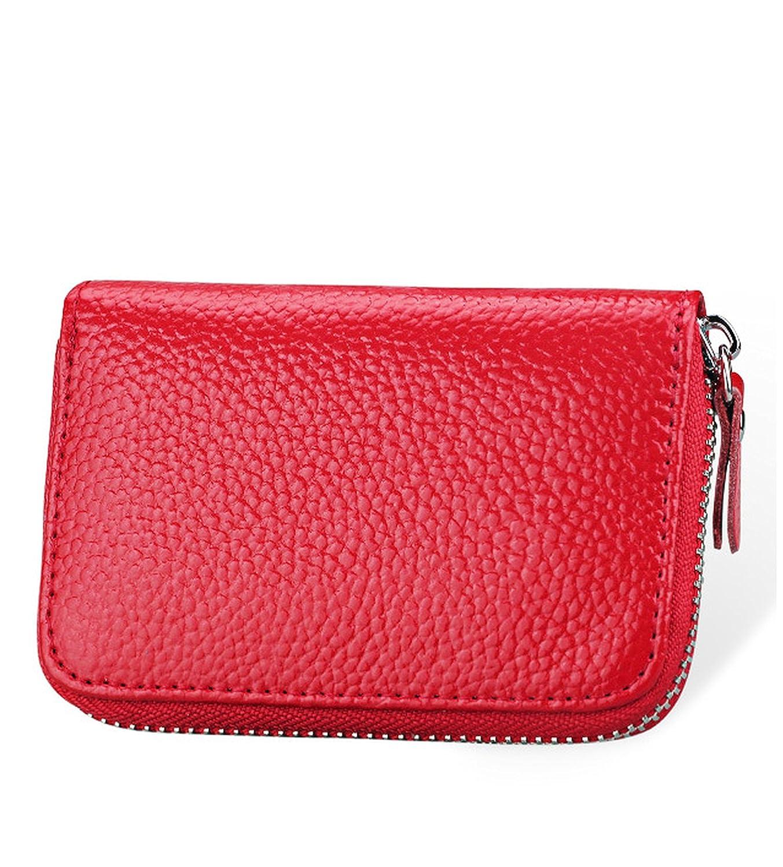Womens Genuine Leather Credit Card Holder Accordion Style Zip Around Wallet