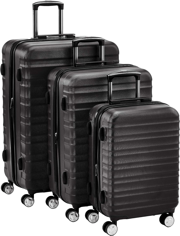 AmazonBasics - Juego de 3 maletas rígidas giratorias prémium (55 cm, 68 cm, 78 cm), negra