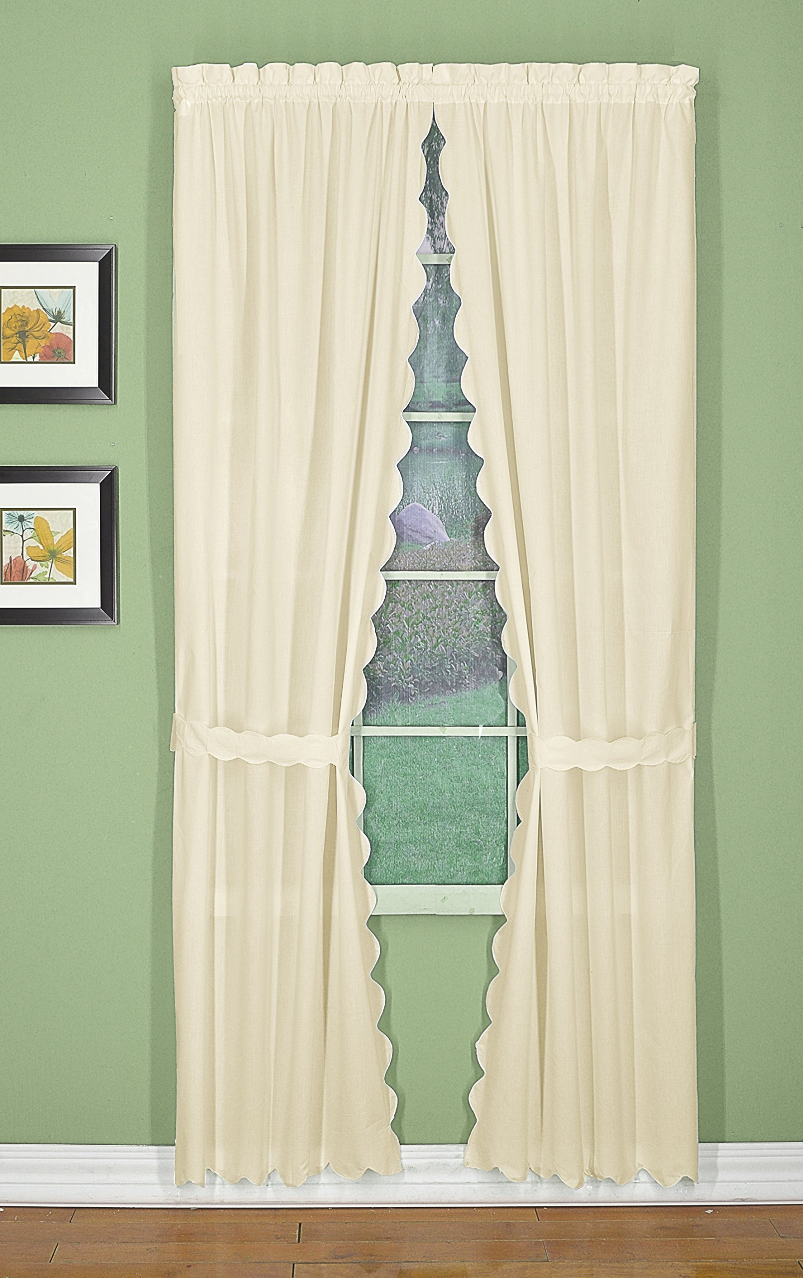 Today's Curtain CA2003K Orleans 45'' Panel Pair with Tiebacks Tambour Scallop Edge Curtain, Ecru, 60'' W x 45'' L/TB