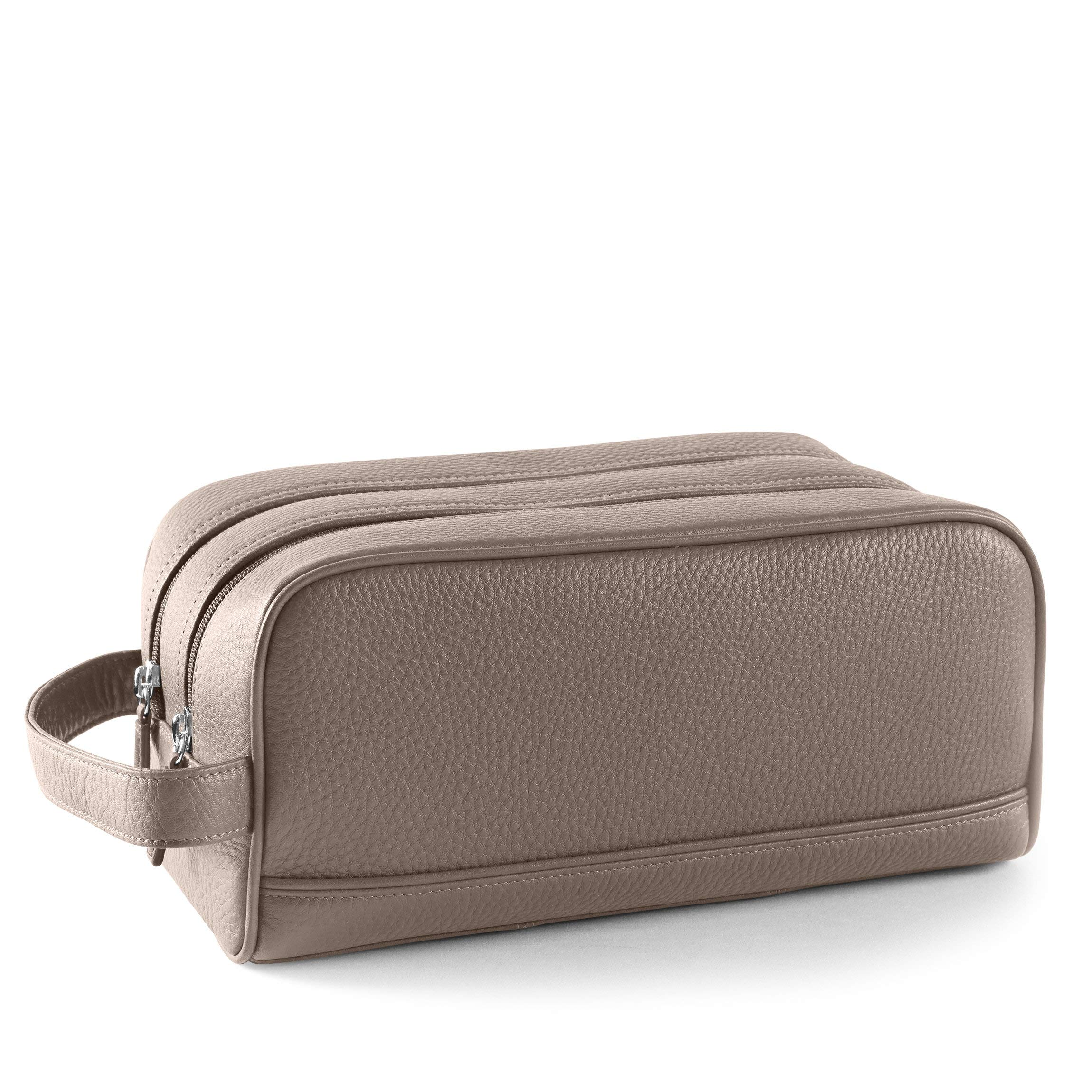 Leatherology Double Zip Toiletry Bag - Full Grain Leather Leather - Taupe (Beige)