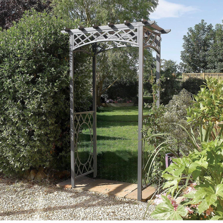 Amazon.com : Rowlinson English Garden Steel Latticed Arbor : Garden U0026  Outdoor