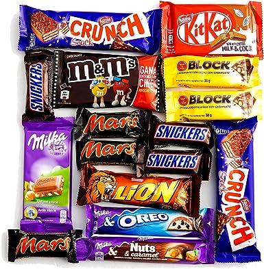 Snacks de Chocolate. En Caja para Regalo con 16 chocolatinas de máxima calidad.: Amazon.es: Alimentación y bebidas