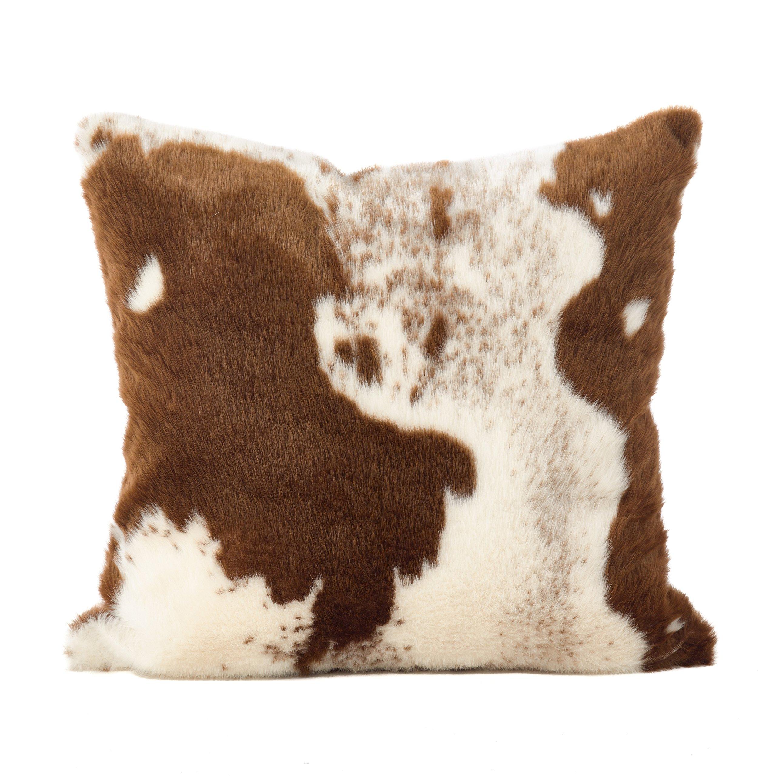 SARO LIFESTYLE Lait Design Urban Faux Cowhide Poly Filled Pillow, 18'', Brown