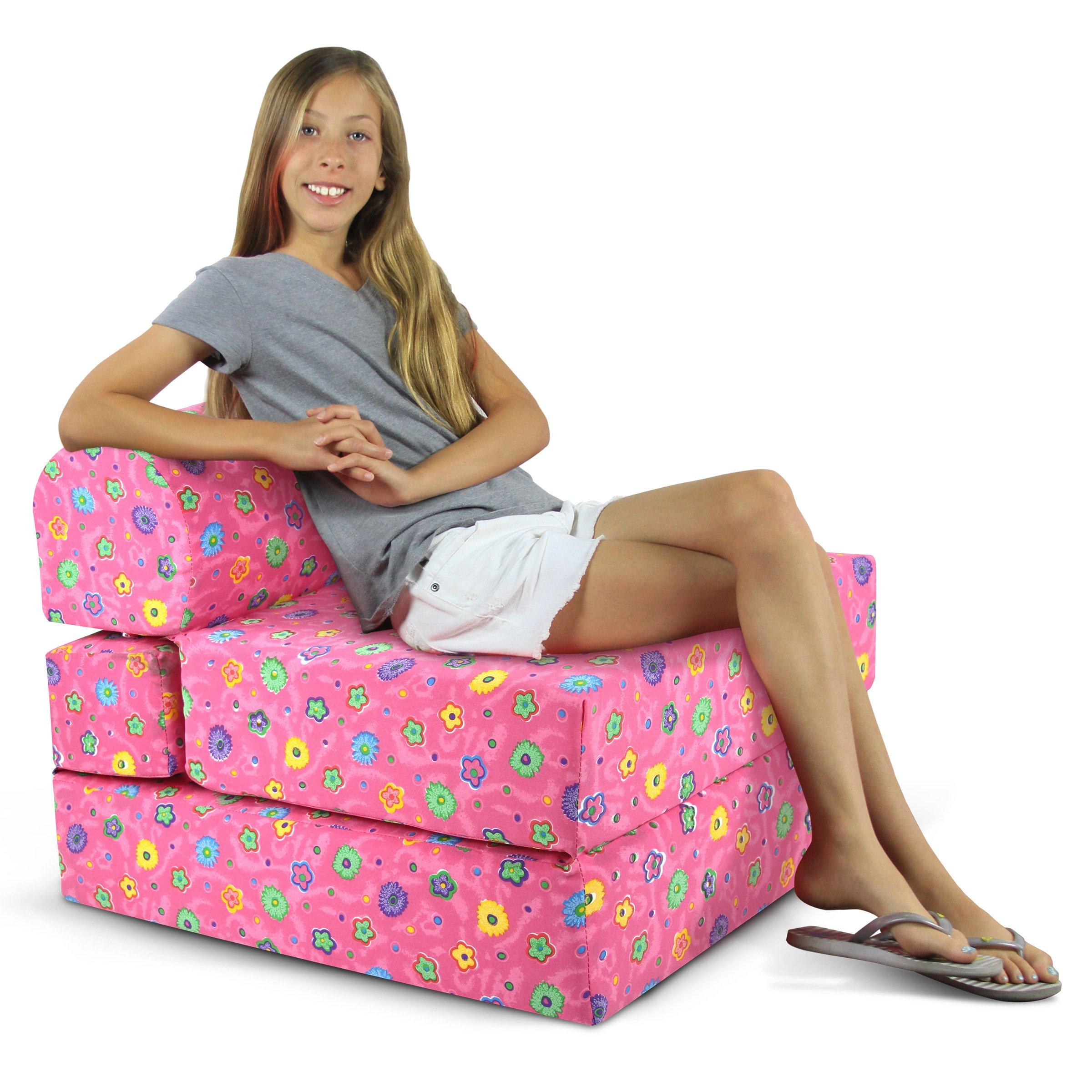 Children's Studio Chair Sleeper  Jr. Twin 24'', Pink Flower