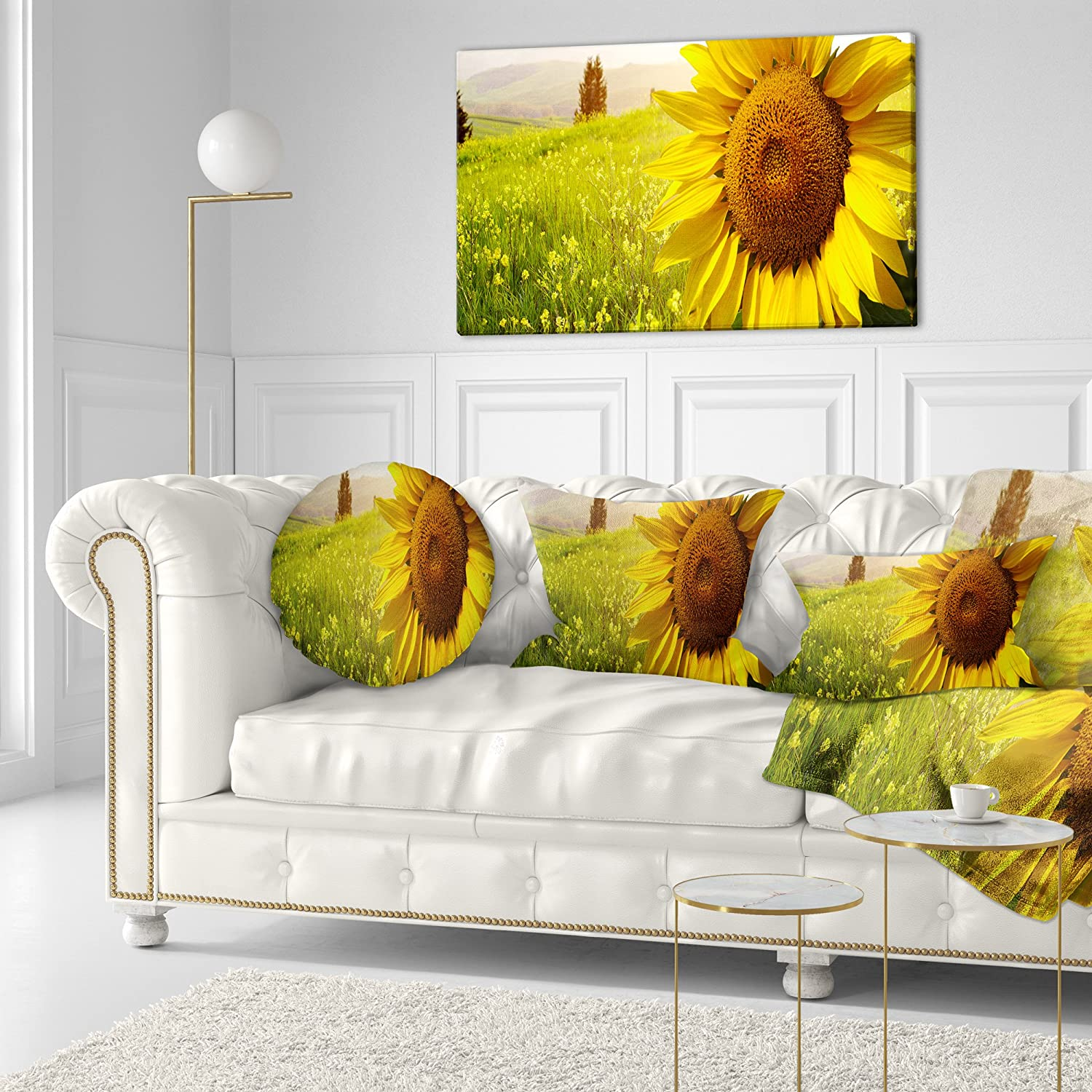 Sofa Throw Pillow 16 Designart CU9438-16-16-C Yellow Field with Big Sunflower Landscape Printed Round Cushion Cover for Living Room