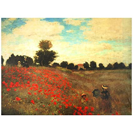 Amazon.com: Oriental Furniture Poppies Canvas Wall Art: Oil ...