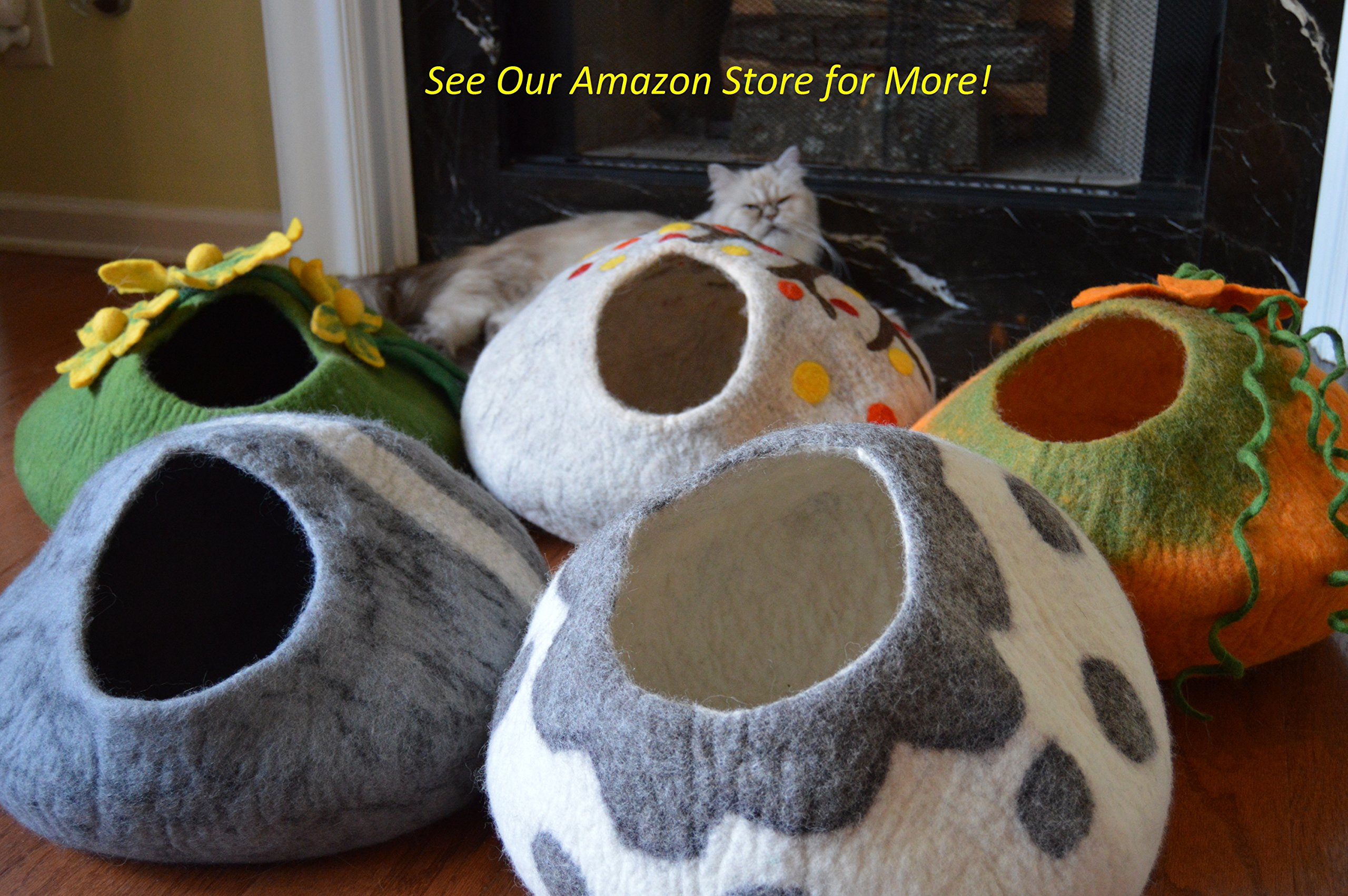 Best Cat Cave Bed, Unique Handmade Natural Felted Merino Wool, Large Covered and Cozy, Also Perfect for Kittens, Includes Bonus Catnip, Original Cat Caves, By Earthtone Solutions (Cushy Casa) by Earthtone Solutions (Image #6)