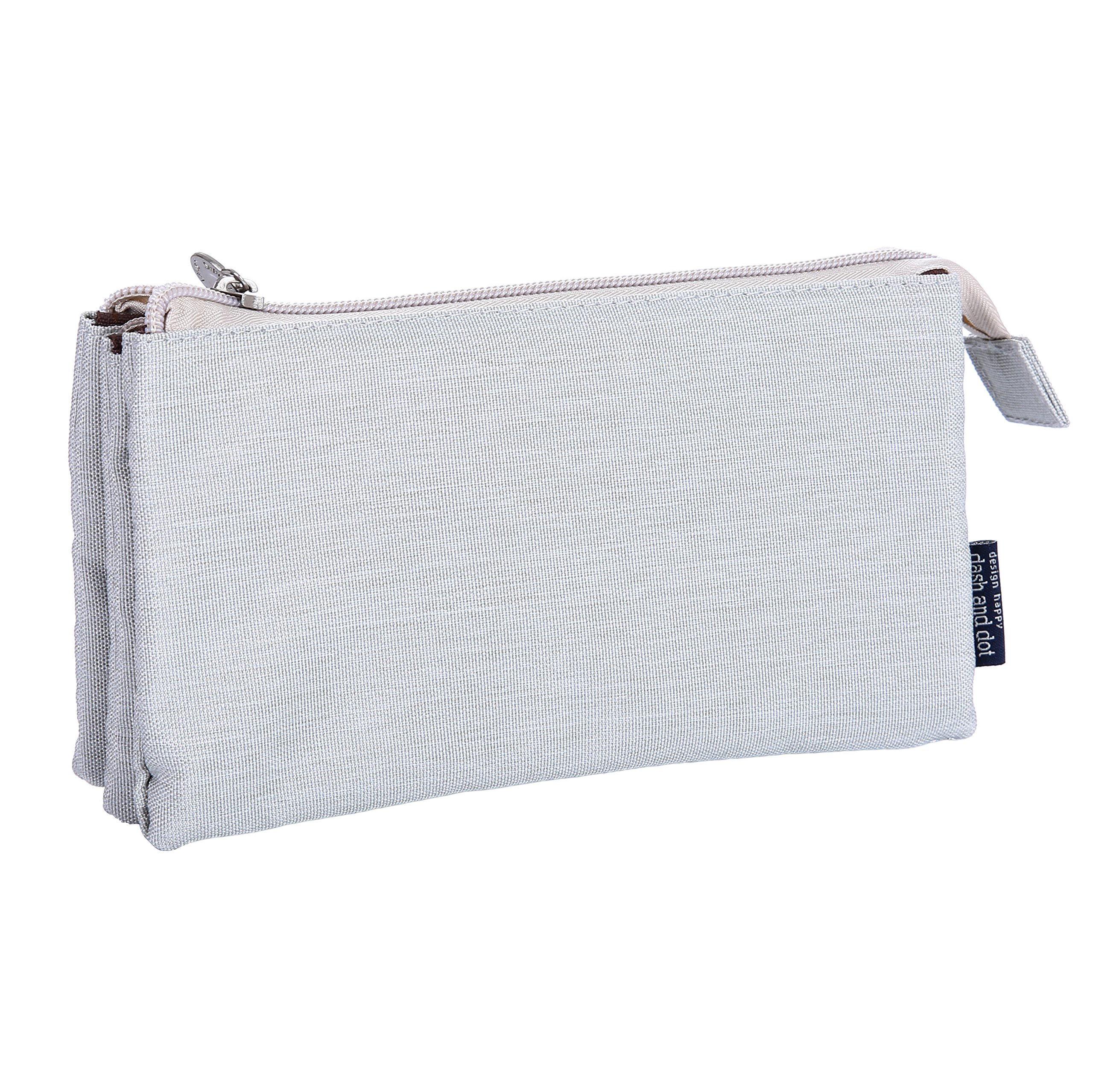 O,Like Super Capacity Pencil Case Three Compartment Pencil Holer Pencil Pouch Pen Bag Cosmetic Bag (grey)