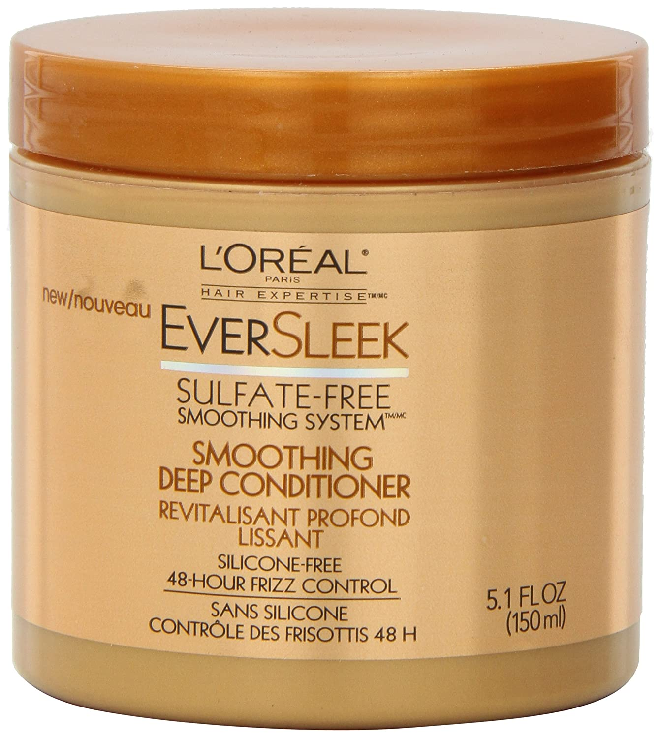 L'Oreal Paris EverSleek Sulfate-Free Smoothing System Smoothing Deep Conditioner, 5.1 Fluid Ounce L' Oreal Paris Hair Care K0902900