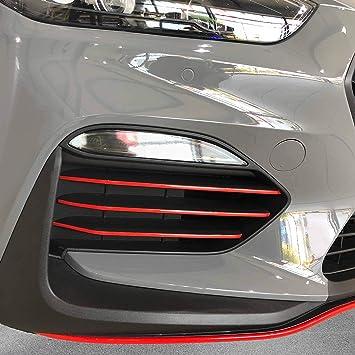 P045 Frontgrill Stripes Designline 8er Set Stripes Folien Set Kühlergrill Stoßstangen Folie Blutrot Auto
