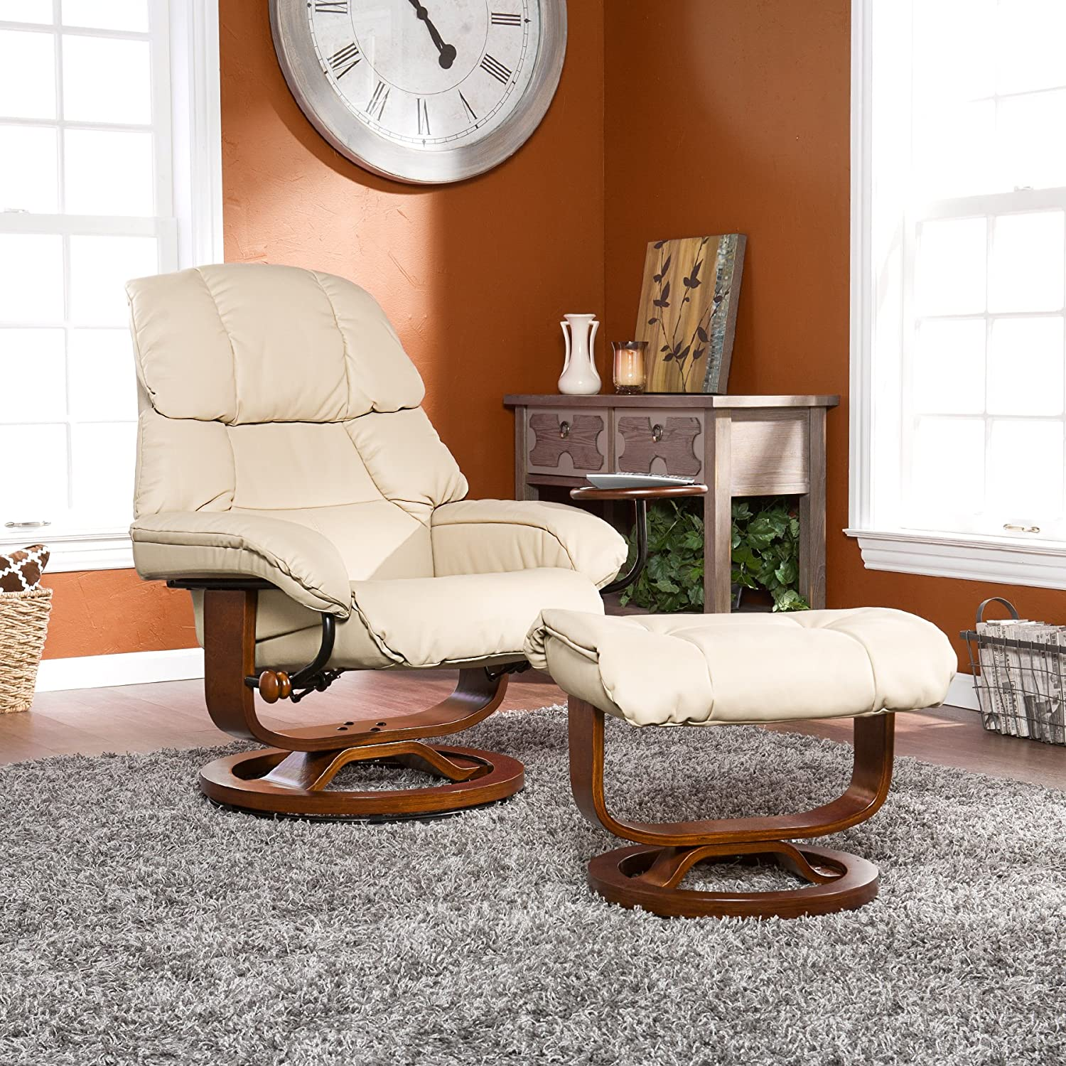 Amazon.com: Bonded Leather Recliner And Ottoman   Taupe: Kitchen U0026 Dining