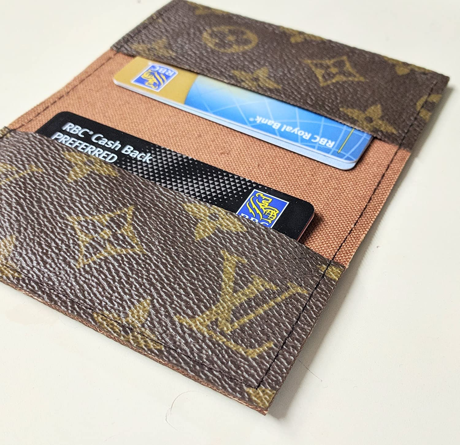 bbc41ca4f3c2 Handcrafted card holder with upcycled and repurposed authentic Louis  Vuitton monogram canvas - small wallet - Please read item description  before you buy