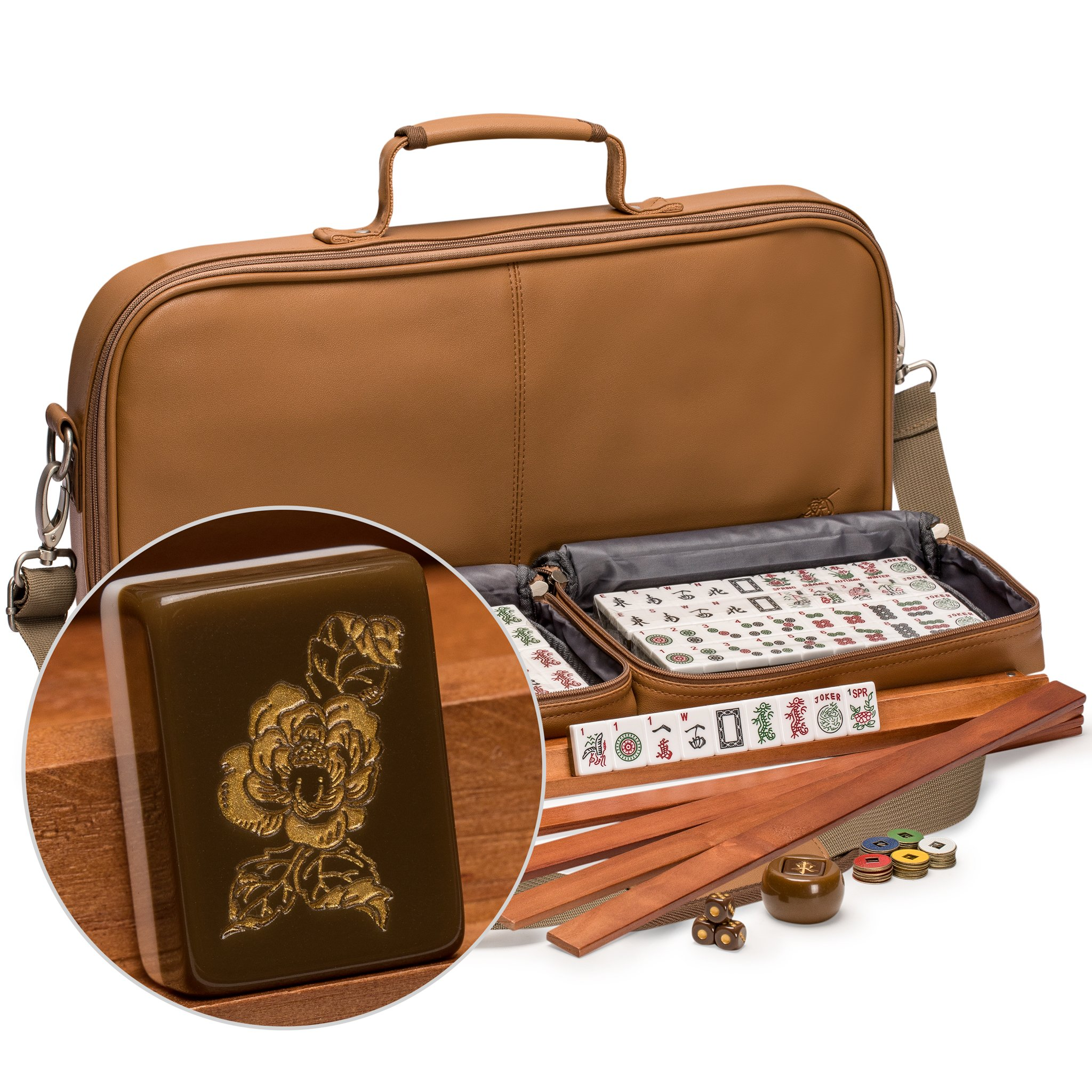 Yellow Mountain Imports American Mahjong (Mah Jong, Mahjongg, Mah-Jongg, Mah Jongg) Set with 166 Tiles Adorned with Floral Motif, Leatherette Case, Racks with Pushers, and Accessories, ''Peony''