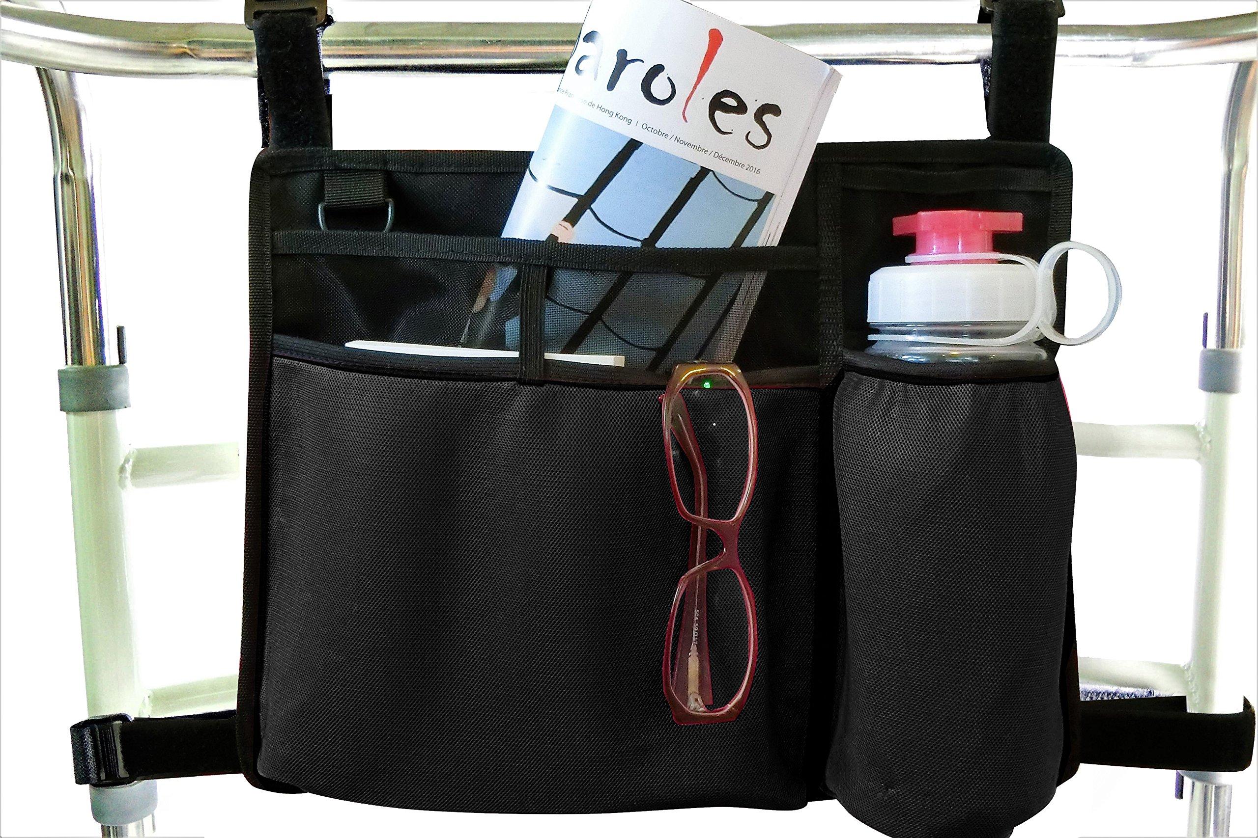Folding Walker Bag, Wheelchair Side Pouch, Rollator Pouch, Bed Rail Organizer, Insulated Bottle Holder, Zipper Pocket, Key Holder Long Strap, Black
