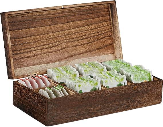 Relaxdays Caja infusiones, Ocho Compartimentos, 80 bolsitas de té ...